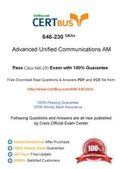 Candidate need to purchase the latest Cisco 646-230 Dumps with latest Cisco 646-230 Exam Questions. Here is a suggestion for you: Here you can find the latest Cisco 646-230 New Questions in their Cisco 646-230 PDF, Cisco 646-230 VCE and Cisco 646-230 braindumps. Their Cisco 646-230 exam dumps are with the latest Cisco 646-230 exam question. With Cisco 646-230 pdf dumps, you will be successful. Highly recommend this Cisco 646-230 Practice Test.