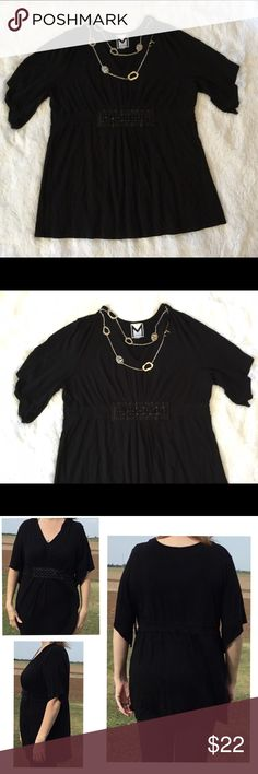 Baby Doll Top HOST PICK Black baby doll top , short sleeve , with bead at the waist, the tag for size is missing , measured pit to pit  25' length 32' , excellent condition, i believe its a 1X but please refer to the measurements ..BEST IN PLUS SIZE 1-24-2017 marc bouwer Tops