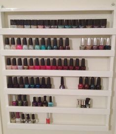 Make your own nail polish rack! i'm NOT very artistic/crafty, but this would be awesome in my #bedroom, freeing up some drawer #storage space!!