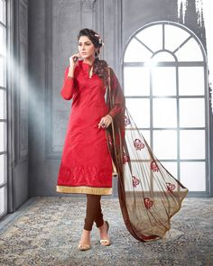 Red Chanderi Cotton Churidar Suit 69829