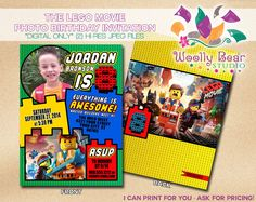 Printable Everything is Awesome Movie Photo Birthday Invitation by WoollyBearStudio on Etsy https://www.etsy.com/listing/200659622/printable-everything-is-awesome-movie