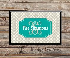 This would make an excellent Christmas gift.  A personalized door mat.  Let me design one for you.  www.mindymeyer.etsy.com