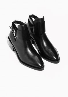 & Other Stories image 2 of Cut-Out Ankle Boots in Black Sock Shoes, Shoe Boots, Shoes Heels, Ballerinas, Black Ankle Boots, Leather Ankle Boots, Designer Boots, Trendy Shoes, Pumps