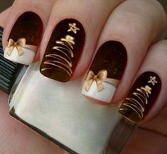 Latest Christmas Nail Ideas for 2018 - Liatsy Latest Christmas Nail Ideas for Christmas Cardigan Nail Art Designs Ideas; Christmas nails made of acrylic;You are in the right place about rose gold nails He Diy Christmas Nail Designs, Holiday Nail Art, Diy Nail Designs, Winter Nail Art, Winter Nail Designs, Simple Nail Designs, Christmas Nail Art, Red Christmas, Christmas Glitter