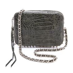 💥SALE💥Tribal Flirty Bag Glossy pyramid studs add a rock-n-roll edge to this croc-embossed handbag. Leather weaves through the gold chain strap, and a logo plate gleams at the front. The tasseled zip opens to a lined interior with a patch pocket.  Leather: Cowhide. MEASUREMENTS Height: 5.5in / 14cm Length: 8.5in / 21.5cm Depth: 2in / 5cm Strap drop: 21in / 53.5cm Rebecca Minkoff Bags