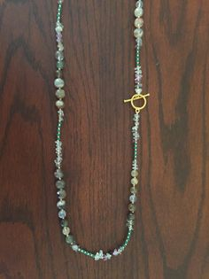 Genuine Multi-Rhutilated Quartz, Phantom Quartz, Fluorite Necklace with Metallic Gold Beaded Jewelry