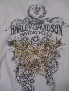 #HarleyDavidson Women T shirt that's white with Bling accents sure to catch your eye and show your Harley love whether you're walking or on your motorcycle!