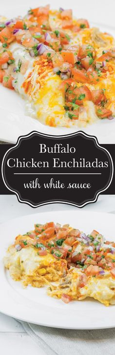 My husband went CRAZY over these buffalo chicken enchiladas with a sour cream white sauce. They're basically the ultimate man meal! #BornOnTheFarm