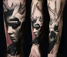 Face with antlers tattoo by Timur Lysenko