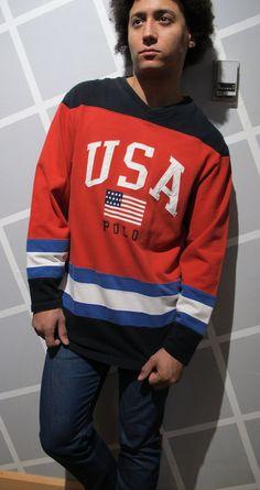 VINTAGE Polo Ralph Lauren USA Hockey Jersey by Kokorokoko on Etsy