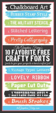 Favorite Free Crafty Fonts // The Graphics Fairy  ~~ {10 free fonts w/ easy download links}