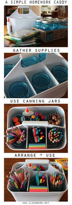 together a simple homework caddy to contain all those school supplies and odds and ends.Put together a simple homework caddy to contain all those school supplies and odds and ends. Craft Organization, Craft Storage, Organizing Ideas, Storage Ideas, Desk Storage, Bedroom Organization, Organizing School Supplies, Kids Homework Organization, Kids Homework Station