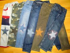 Nachbarzwergs Stoffgarten: mending pants can be fun too! Diy Jeans, Jean Diy, Make Do And Mend, Toddler Pants, Patched Jeans, Kids Patterns, How To Make Clothes, Textiles, Diy Clothing