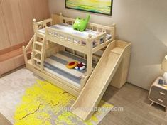 Kinderzimmer prices cheap kids bunk bed with slide Traditional Futon Beds Futon is Japa Kids Bed With Slide, Bunk Bed With Slide, Bunk Beds With Stairs, Toddler Bunk Beds, Bunk Beds Boys, Kid Beds, Baby Bedroom, Girls Bedroom, Kids Bed Design