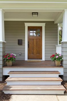Interesting remodeled Porch ideas see this Front Porch Remodel, Front Porch Railings, Front Porch Makeover, Front Stairs, Front Porch Design, Home Exterior Makeover, Wood Front Doors, Front Entry, House With Porch