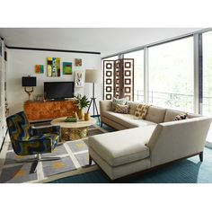 Let your inner hippie loose with a groovy living room ~ Jonathan Adler design Manly Living Room, Rugs In Living Room, Room Rugs, Credenza Decor, H & M Home, Interior Design Inspiration, Design Ideas, Beautiful Interiors, Decoration