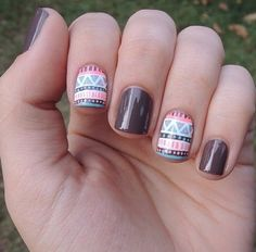 Image via Sweet flower nail art - pink & brown nails Image via Neutral nails with flowers and chevrons. Image via Polish Art Addiction: Basketball Nails they would be PERFECT Perfect Nails, Gorgeous Nails, Love Nails, Fun Nails, Pretty Nails, Tribal Nail Designs, Cute Nail Designs, Simple Designs, Blue Nail