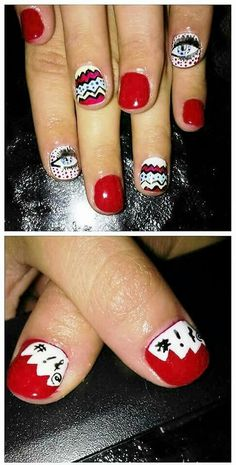 #nailart #popart #naildesigns #pop #art #red #nails