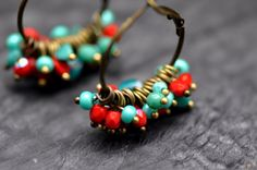 Hoop earrings, made with red and turquoise faceted czech beads by BBTAR on Etsy https://www.etsy.com/listing/176540870/hoop-earrings-made-with-red-and