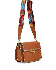 Valentino Rockstud Rolling Medium Enchanted Guitar-Strap Shoulder Bag, Tan