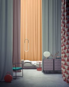 Alessandra Salaris. Curtain walls, high ceilings, red patterned fabric, palette, light fixtures, furniture.