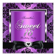 Sweet Sixteen 16 Party Purple Damask Silver Black Custom Invitation