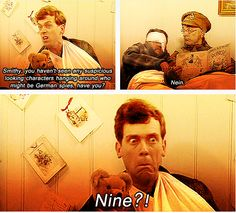 from Blackadder Goes Forth. George (Hugh Laurie) in the hospital with the teddy bear is the best.