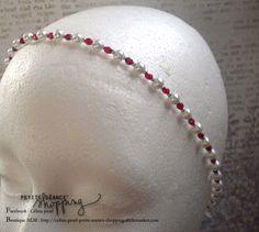 ♥ Headband bijou perles en verre rouge et blanches - Mariage ♥ : Accessoires coiffure par celina-pearl-petite-seance-shopping