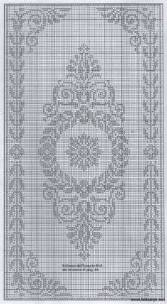 Scheme crochet no. Filet Crochet Charts, Crochet Cross, Crochet Diagram, Knitting Charts, Thread Crochet, Crochet Stitches, Crochet Patterns, Cross Stitch Borders, Modern Cross Stitch