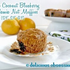 Lemon Coconut Blueberry Macadamia Nut Muffins
