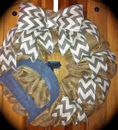 Burlap and chevron with rustic letter by CharlaGriffinDesigns, $75.00