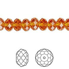 Bead, Swarovski crystal, Crystal Passions®, tangerine, 8x6mm faceted rondelle (5040). Sold per pkg of 12.