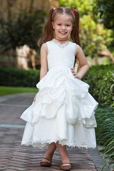 Lovely Ball Gown V-neck Tea-length Satin and Taffeta Lace Appliques Flower Girl Dress Party Dresses 2014, Baby Girl Party Dresses, Cheap Flower Girl Dresses, Party Gowns, Wedding Party Dresses, Bridal Dresses, Girls Dresses, Bridesmaid Dresses, Prom Dresses
