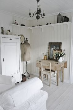 Paneled walls - Love the high shelf!