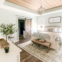 A cozy and tranquil master bedroom is a must for me. When decorating your farmhouse bedroom here are some elements to add! Dream Master Bedroom, Farmhouse Master Bedroom, Master Bedroom Makeover, Master Bedroom Design, Home Decor Bedroom, Bedding Master Bedroom, Duvet Bedding, Master Bed Room Decor, Gray Home Decor
