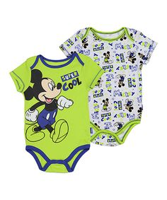 This Lime Mickey Mouse 'Super Cool' Two-Piece Bodysuit Set - Infant by Disney Baby is perfect! #zulilyfinds