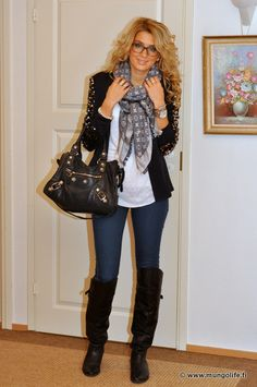 Perfect Outfit.  Black Jacket, high boots, scarf & Jeans