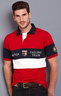 Men's Sailing Team Polo - Nautica.com Polo Rugby Shirt, Mens Polo T Shirts, Boys Shirts, Men's Polo, Outfits Casual, Nike Outfits, Casual T Shirts, Camisa Polo, Polo Fashion