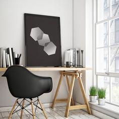 Geometric Art Wall Decor Printable Art Hexagon by littlegoldpixel
