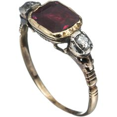 Alexis Bittar 1820's 14K Gold with Ruby and Diamond Ring ($2,800) ❤ liked on Polyvore featuring jewelry, rings, accessories, joias, victorian ring, diamond rings, 14k ruby ring, bee ring and 14k gold ring