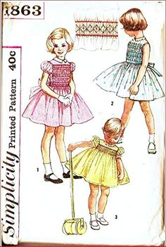 Simplicity 1863 Girls Dress with Bodice Smocking, Vintage Sewing Pattern Check Listings for Size Transfer Included Si. Little Girl Dresses, Little Girls, Girls Dresses, Vintage Dress Patterns, Vintage Dresses, Smocking Patterns, Amazon Art, Sewing Stores, Paper Dolls