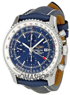Breitling Navitimer World Blue Dial Chronograph Mens Watch A2432212-C651BLLT