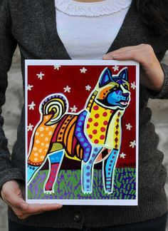 POP ART  AKITA art Dog Print Poster Akita Art by HeatherGallerArt, $16.00
