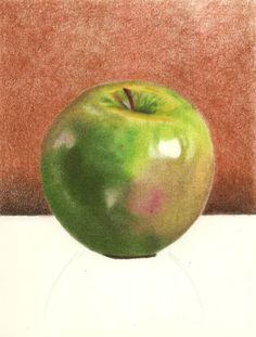 Como desenhar uma maçã verde com lápis de cor (abrir)