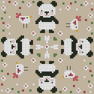 sweet panda - great for a biscornu!