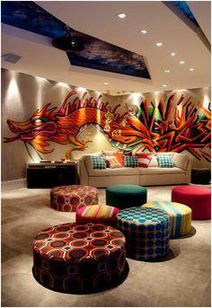 Graffiti living room. Graffiti decorationovw these covered cushions!