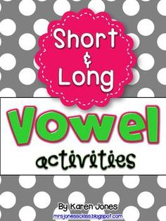 Short & Long Vowels Unit-- with *40* centers & activities for all long and short vowels! Whole group lessons, mini books, word work centers, games & more! #TpT $12