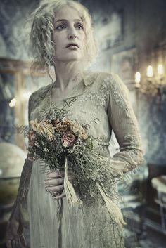 "Gillian Anderson as Miss Havisham in PBS Masterpiece Classic, Charles Dickens ""Great Expectations TV Series Gillian Anderson, V Drama, Little Dorrit, Miss Havisham, Image Film, Helena Bonham Carter, Great Expectations, Star Cast, Movie Costumes"