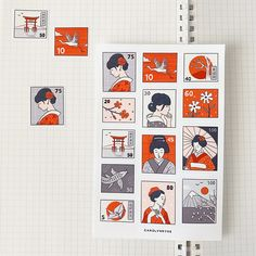 JAPAN STAMPS sticker sheet // aesthetic cute travel traditional Japanese red kimono geisha stickers for bullet journals, planners, scrapbook Bullet Journal Japan, Bullet Journal Themes, Bullet Journal Inspiration, Bullet Journals, Japanese Stamp, Japanese Drawings, Bullet Journal Aesthetic, Aesthetic Japan, Japanese Graphic Design