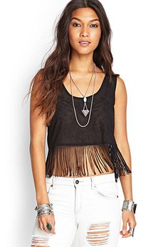 Embroidered Fringe Top | FOREVER21 - 2000120695